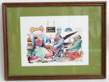 Vintage CREOLE CUISINE poster in wooden frame under glass, signed New Orleans, name of artist and 82