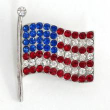 Silver tone AMERICAN FLAG shaped brooch with red, blue and white rhinestones