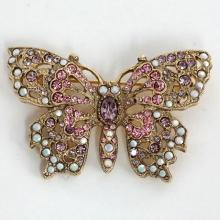 Gold plated BUTTERFLY shaped brooch with multicolor rhinestones