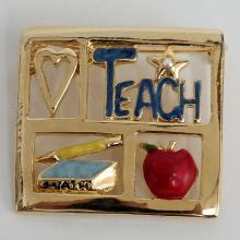 Gold plated square brooch with enamel and rhinestone LOVE TEACH
