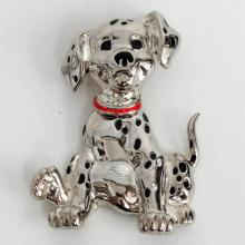 DISNEY silver tone DALMATIAN shaped brooch with enamel and dangling body