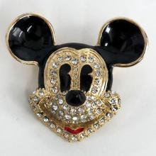 Gold plated MICKEY MOUSE HEAD shaped brooch with enamel and white rhinestone