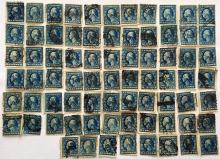 Lot of 74  U.S. stamps: 5 cent blue Washington-Franklin stamps, used