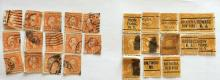 Lot of 27  U.S. stamps: 14 - 6 cent red orange and 13 - 10 cents yellow Washington-Franklin stamps, used