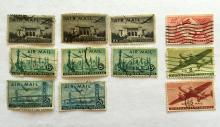 Lot of 11 big  U.S. stamps: 6, 8, 10, 15, and 25 cents, used Airmail.