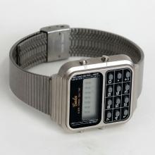 Vintage stainless steel rectangular GALA men's watch calculator with bracelet, made in Hong Kong