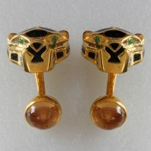 Panthere head cufflinks Sterling silver Gold Plated Enamel Green Tzavorite Eyes & Citrine