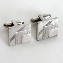 Vintage silver tone textured and shiny finish square cufflinks, signed