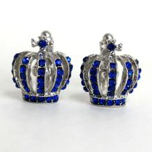 Silver tone CROWN shape cufflinks with royal blue color rhinestones