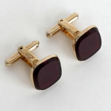 Vintage gold plated cushion shape dark red color flat stone cufflinks, signed Hickok U.S.A.