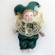Mardi Gras porcelain small CLOWN DOLL in hat with bells