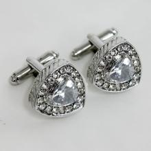 Silver tone triangle shape white crystals and CZ cufflinks
