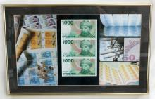 Gold tone metal frame MONEY COLLAGE with real 3 ISRAEL bills (domination 1000 each) issued in 1983 not divided yet under glass.