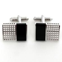 Silver tone rectangular cufflinks with black onyx