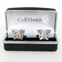 Silver tone BUTTERFLY shaped cufflinks with multicolor rhinestones, comes in box signed