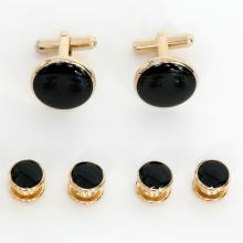 Gold plated set of cufflinks and 4 buttons with round black onyx, comes in velvet box signed