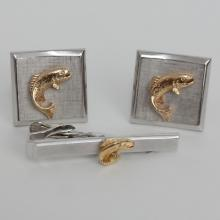 Vintage silver tone textured square cufflinks with gold plated FISH on each, signed SWANK and matching Tie clip