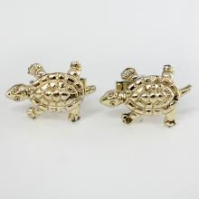 Gold tone TURTLE shape cufflinks