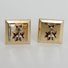 Vintage gold plated square cufflinks with enamelled cross, globe, bird