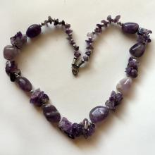 Free shape genuine amethyst beads necklace with silver tone spacers, beads and clasp