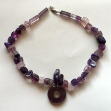 Free shape genuine fluorite beads necklace with silver tone toggle clasp