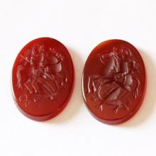 Pair of carnelian hand carved intaglio 18 mm x 13 mm