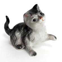 Hand painted small porcelain statuette figurine in shape of grey CAT