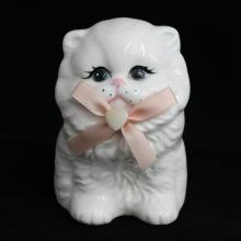 Hand painted porcelain statuette figurine in shape of white CAT with pink bow