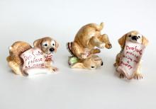 Porcelain 3 PUPPY DOGS ASKING SANTA figurines statutes