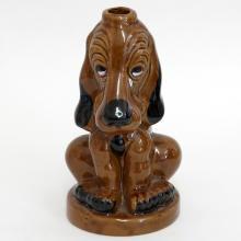 Ceramic brown DOG figurine statuette vase