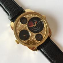 MILANO QUARTZ: Yellow Gold tone men's watch with black leather band