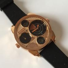 MILANO QUARTZ: Pink Gold tone men's watch with black rubber band
