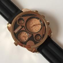 MILANO: Pink & Yellow Gold tone men's DOUBLE TIME Chrono watch with black rubber band