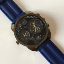MILANO: Blackened tone men's DOUBLE TIME Chrono watch with navy color rubber band