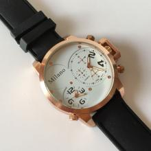 MILANO: Pink Gold tone men's DOUBLE TIME Chrono watch with black rubber band