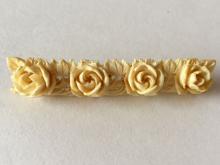Vintage hand carved 4 roses bar shaped brooch