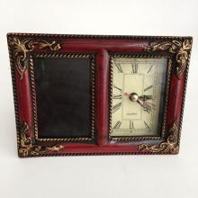 Antique finish red and gold color table photo frame with watch / clock