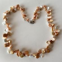 White and peach shadows genuine BIWA graduated pearl necklace with sterling silver lobster clasp