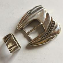 Sterling silver oxidized buckle with extra matching sterling silver piece holding genuine italian belt leather, size 40
