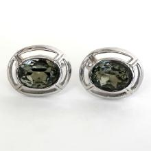 Vintage silver tone oval cufflinks with bezel set green amethyst color oval faceted glass stones with gallery from back side