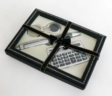 Silver tone set contain - key chain, pen, pocket calculator in gift box with bow