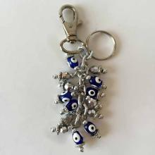 Vintage blue EVIL EYE and silver tone faceted beads dangling charms key chain
