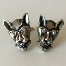 Sterling silver CAT HEAD shaped cufflinks with rhinestones