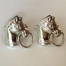 HICKOK U.S.A.: Silver tone rhodium plated HORSE HEAD cufflinks, signed