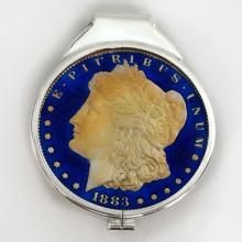 Sterling silver gold plated money clip with genuine silver coin dated 1883 painted with Royal blue enamel