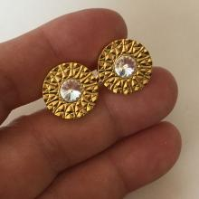 MONEX: Gold plated diamond cut round heavy cufflinks with white rhinestone, signed