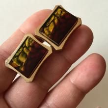 HICKOK U.S.A.: Vintage gold tone cufflinks with red/yellow/black color rectangular glass, signed