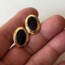 CORRECT: Gold plated with oval black onyx cabochon cufflinks