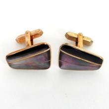 Vintage gold plated free shape cufflinks with inlayed genuine black mother of pearl