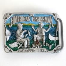 Vintage rectangular shape pure pewter silver tone and blue enamel AMERICAN FISHERMAN
